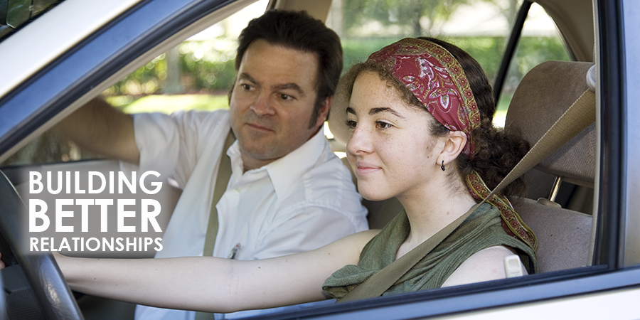 Teen driver with dad