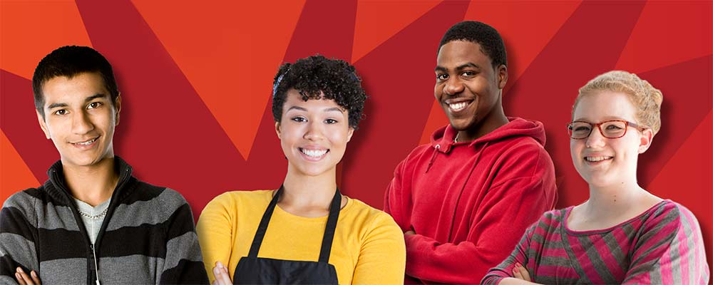 four teens of different ethnicities looking confident in front of a bright red background