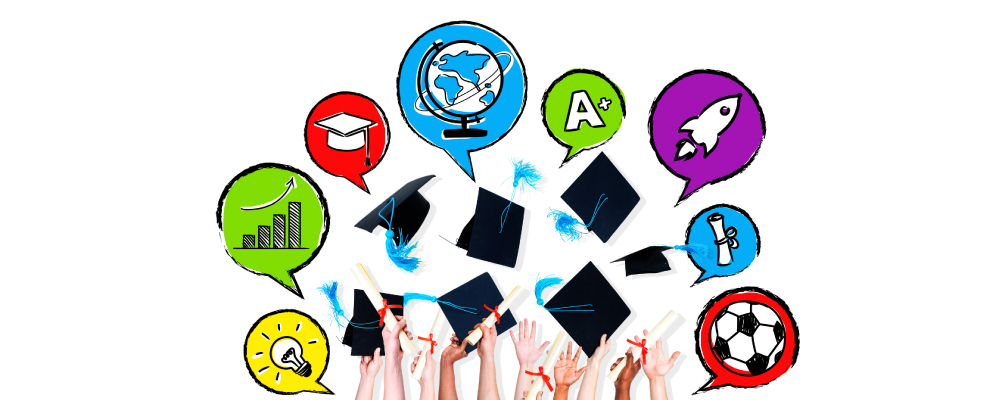 resources image of student hands holding and throwing graduation caps in the air and circles with activities such as soccer, globe