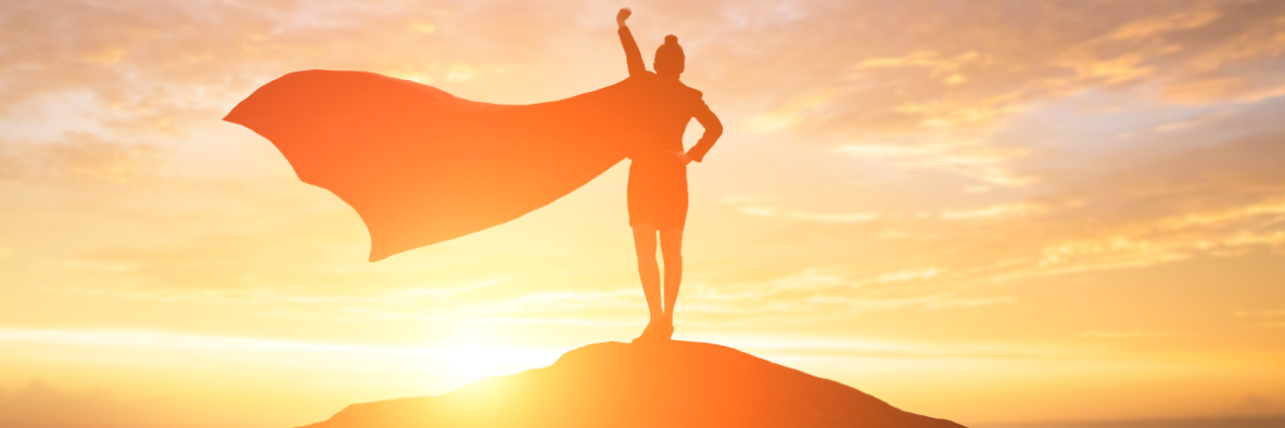 Image of a person being a leader with a superhero cape