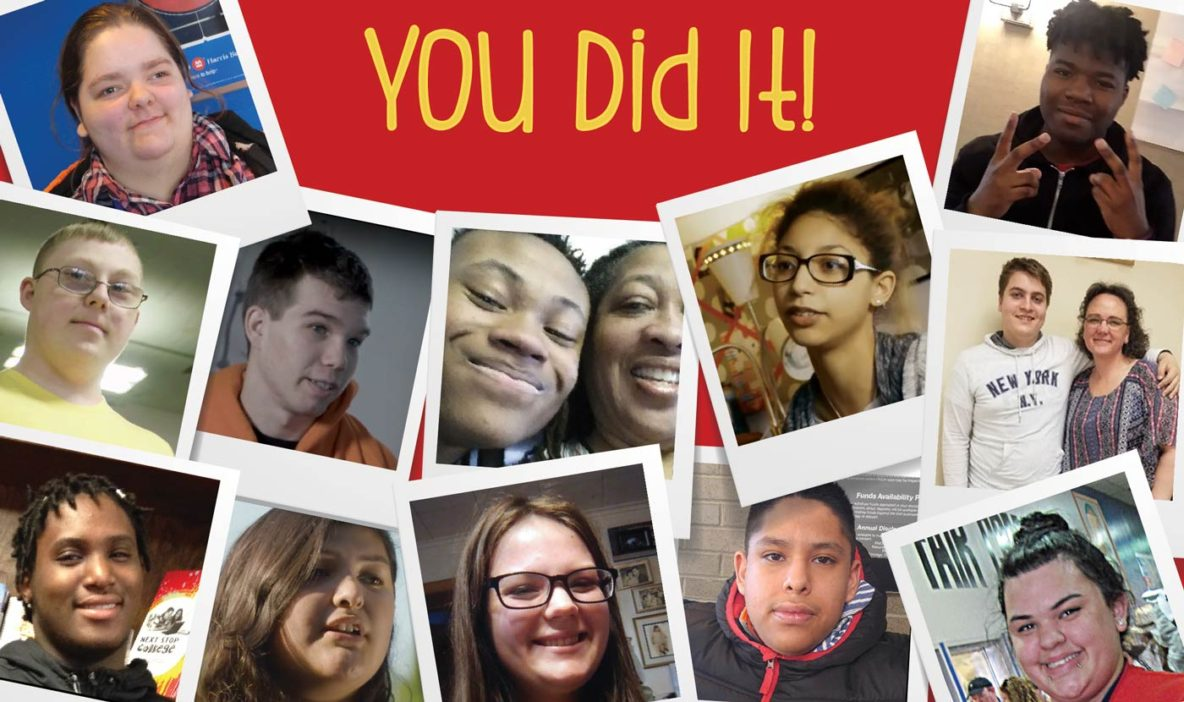 "collage of promise participants surround the statement ""you did it"""
